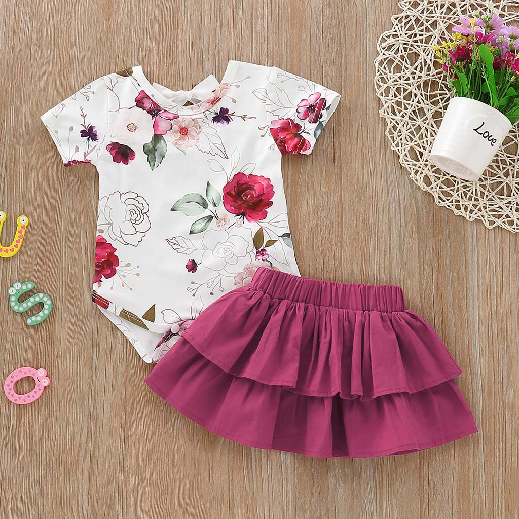 Newborn Toddler Kids Baby Girls Flower Printed Romper+Ruffles Skirt Outfits Set