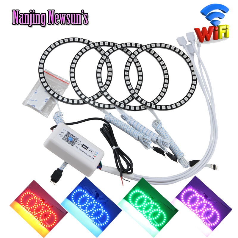 4*105mm 5050SMD Multi-Color RGB Led Angel Eyes For Bmw E46 2D Coupe E87 WIFI Wireless Remote Control Led Halo Rings DRL Fog Kits 4x 120mm rgb multi color wifi remote control halo rings angel eyes led headlights for bmw e32 e34 e30 12v light kits