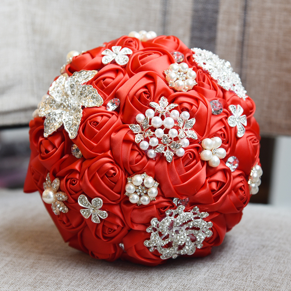 Eternal angel red hand ribbon flower bridal bouquet wedding hold eternal angel red hand ribbon flower bridal bouquet wedding hold artifical flowers with crystals and brooches pearls in artificial dried flowers from home izmirmasajfo