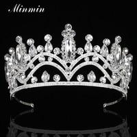 Minmin cristal chispeante grande reina tiaras y coronas nupcial del color de plata Bisutería para pelo moda Accesorios DE BODA MHG114