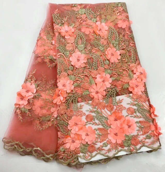 High Quality  3D applique African Tulle Lace Fabric Guipure Embroidered Beaded Nigerian French net Lace Fabrics peach colorsHigh Quality  3D applique African Tulle Lace Fabric Guipure Embroidered Beaded Nigerian French net Lace Fabrics peach colors