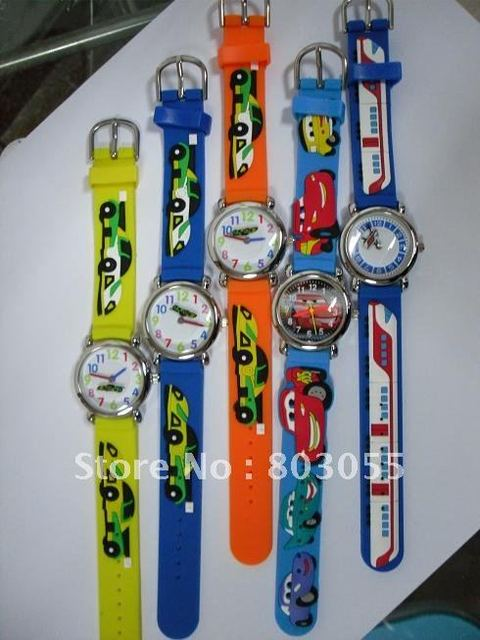 Mixed car cartoon watch 3D Kids watch children watch Japan movement 20pcs/lot+Free shipping