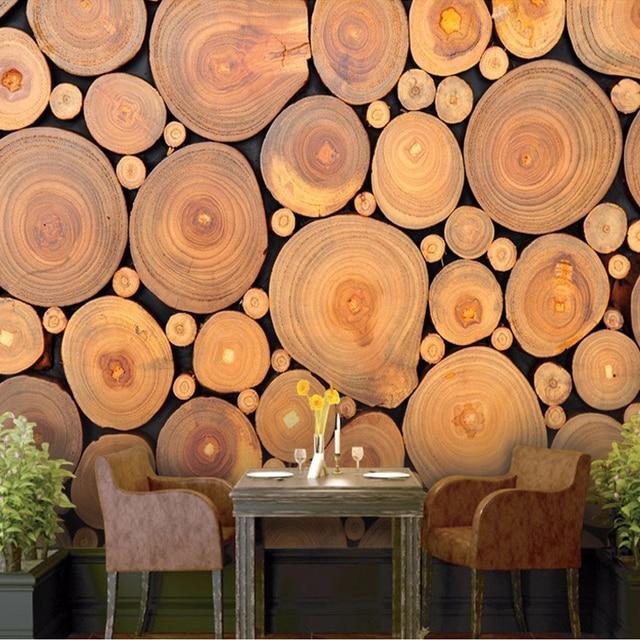 Custom Mural Wallpaper 3D Non Woven Wood Grain Growth Rings European Retro  Wall Decorations Living