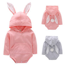 Toddler Cartoon Rabbit Ear Hooded Romper Jumpsuit Outfits Long Sleeve Overalls for children Girls Boys winter baby clothes Drop(China)