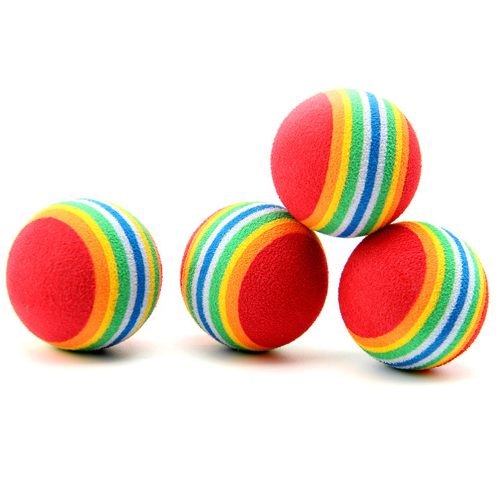 1Pc Colorful Pet Cat Kitten Soft Foam Rainbow Play Balls Activity Toys Funny Balls