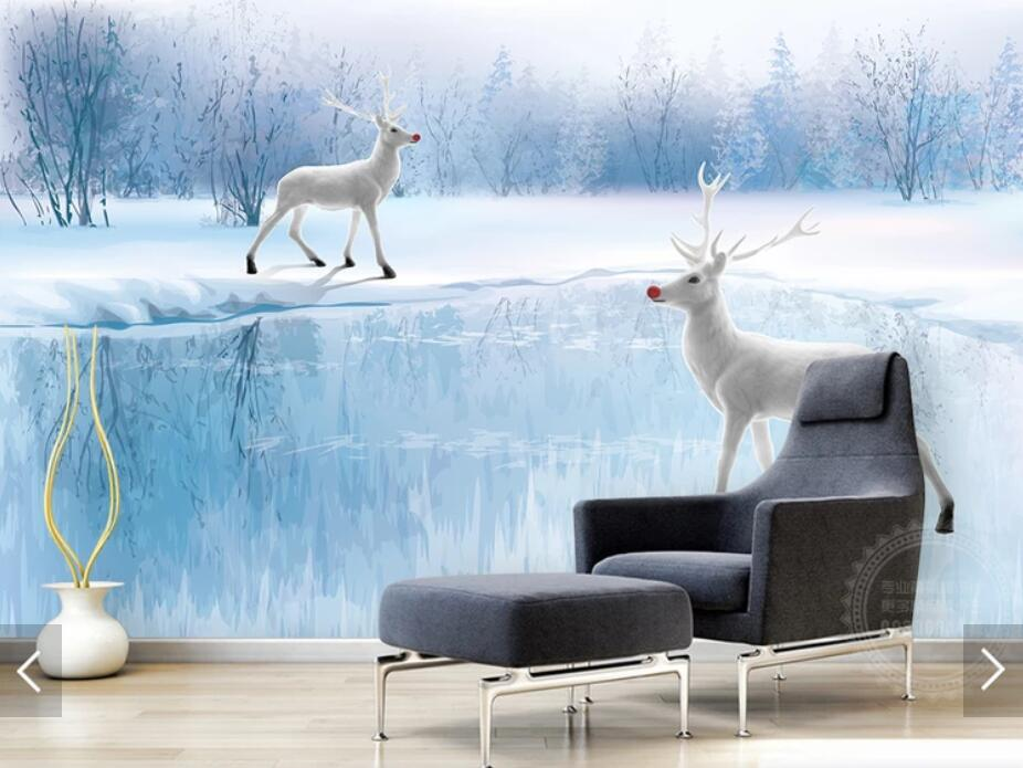 Ice Snow World ELK Animal Tree Wallpaper Mural 3D Printed