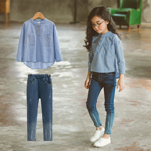 school girls fashion outfit 2 pcs vintage clothing set long sleeves top broken style for teens