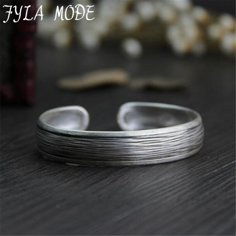 Vintage Bangle Famous S999 Thai Silver Bracelets & Bangles For Women Men Jewelry Antique Silver Cuff Bangle 12.20mm 18G WTB042