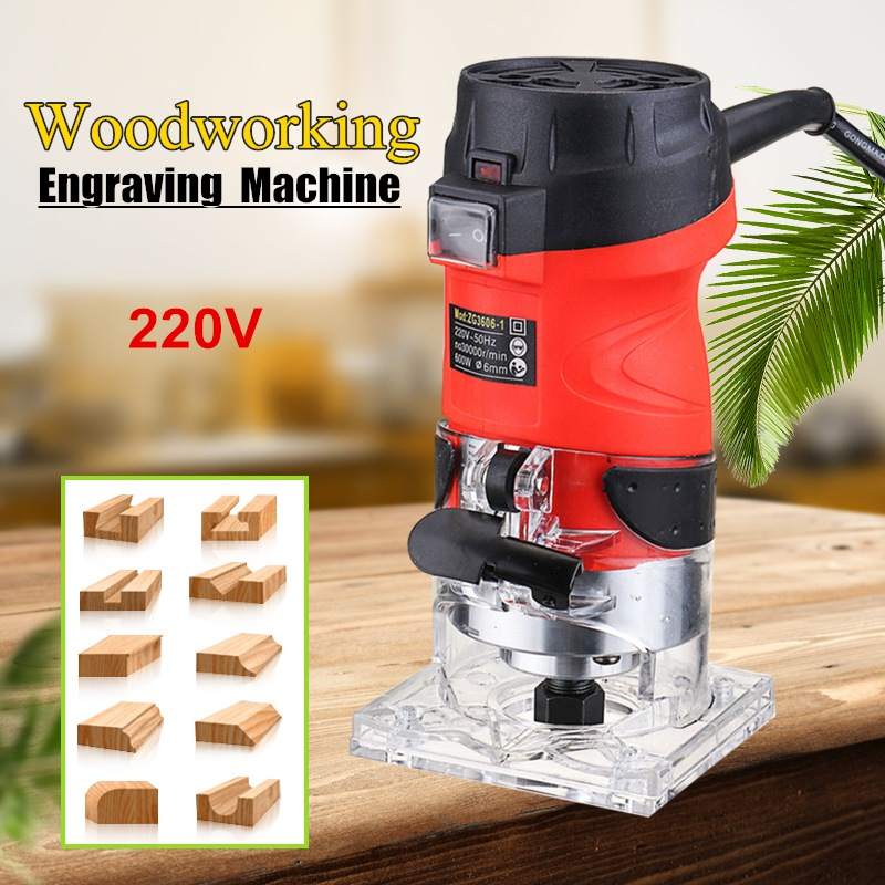 6mm 1/4'' Electric Wood Power Trim Router 600W 220V 32000RPM Bit DIY Home Woodworking Edge Banding Molding Machine Power Tool монтажный инструмент edge banding machine roller