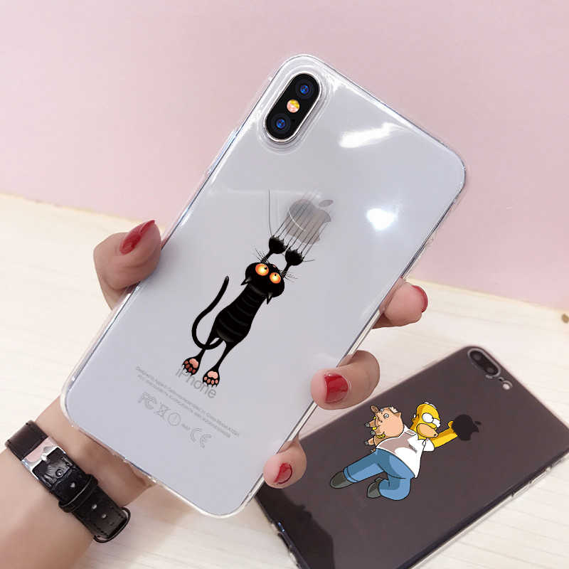 Soft Silicone Case For iPhone 6 6S Plus 7 8 Plus XR XS X 10 5 5S SE Cute Cartoon Soft TPU Phone Case For iPhone Xr Xs max Coque