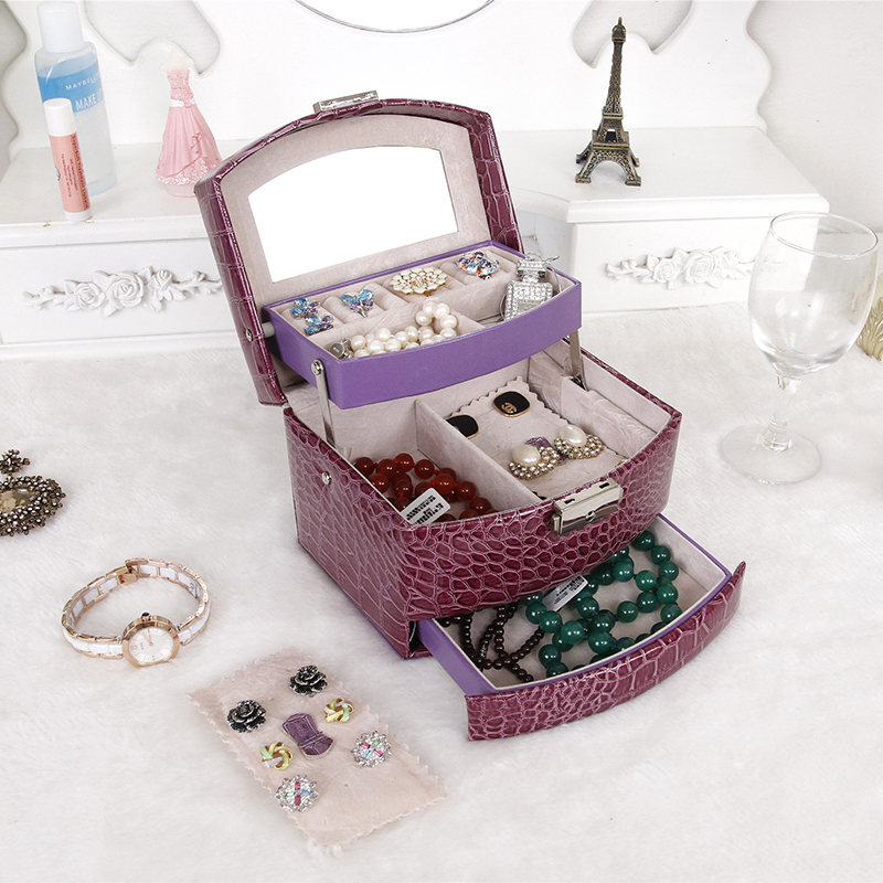 JULY'S SONG Jewelry Storage Box Fashion Double Layer PU Leather Earring Jewelry Organizer Box Display Best Gift for Lover Friend image