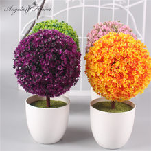 1 Set ball flower + vase artificial potted plants small bonsai plastic fake flower decoration for home wedding Christmas as gift(China)