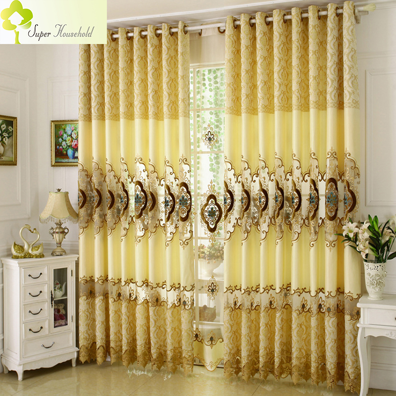 European Royal Luxury Curtains For Living Room Bedroom Embroidered Voile Elegant Lace Kitchen Roman Blinds