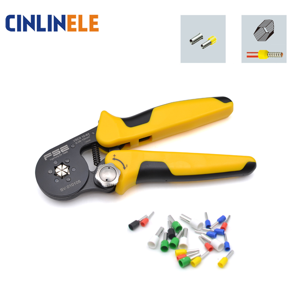 0,08-10mm 24-7AWG ajustable precisa hexágono tubo cordón Terminal alicates crimpado herramientas de mano HSC8 6-6 6-4 VSC9 10-6A