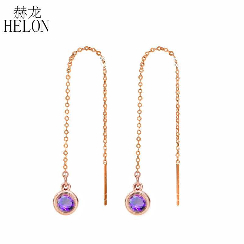 HELON 3mm Round Genuine Amethyst Solid 18k Rose Gold Engagement Wedding Chain Earrings Fine Jewelry For Women's Christmas Gift yoursfs dangle earrings with long chain austria crystal jewelry gift 18k rose gold plated