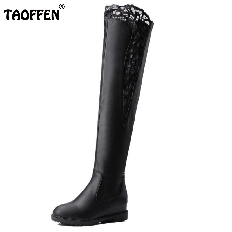 New Fashion Woman Round Toe Over Knee Boots Women Fashion Lace Winter Boot Ladies Brand Zipper Footwear Shoes Size 34-43 women round toe ankle boots woman warm fur winter snow boots new fashion buckle style footwear low heel shoes size 34 43