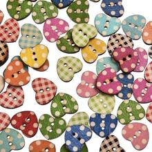 50PCs Multi Color Heart Pattern Wooden Buttons For Craft DIY Scrapbooking Decorative 2 Holes 16x14mm