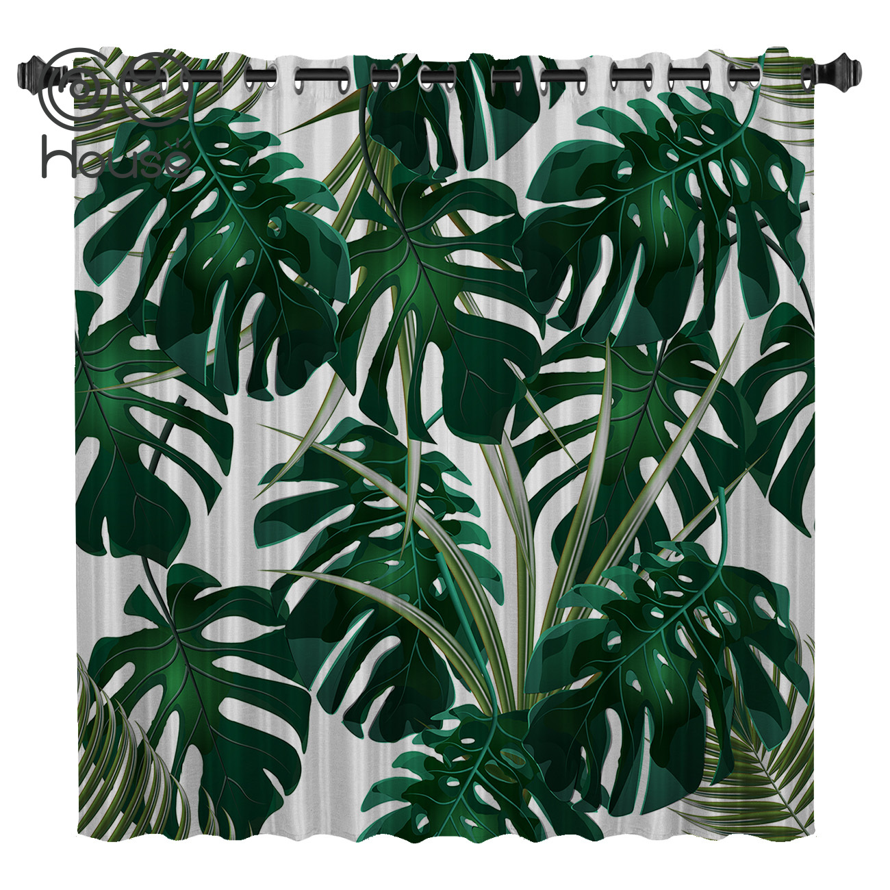 COCOHouse Tropical Leaves Window Curtains Dark Living Room Blackout Outdoor Bedroom Kitchen Drapes Kids Window Treatment Sets
