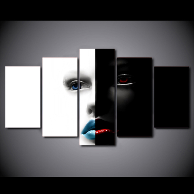 5 Pcs Set Framed Hd Printed Black White Abstract Art Face Wall Canvas Modern Print Painting Poster Picture For Home Decor