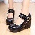Женщины Обувь Из Натуральной Кожи Черный Женщина Платформы Повседневная Обувь Леди Натуральная Кожа Клинья женщин На Высоких Каблуках