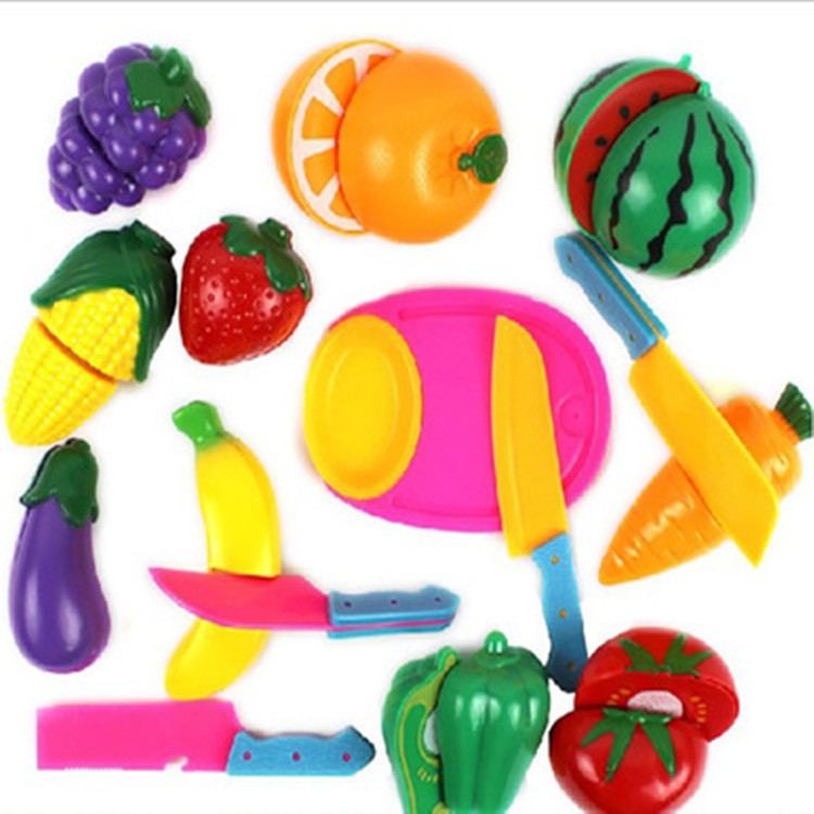 Children's play house toys vegetables and fruits cut to see the set can cut fruit toys cut music image