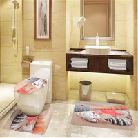 3 PC Seashell Flannel Toilet Cover Set of Bathroom Mat + Mat For Toilet + Toilet Lid Covers