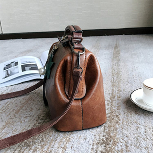 Image 4 - Vintage Small Pu Leather Crossbody Bags for Women Fashion Pendant Design Shoulder Handbag Trending Female Top Handle Tote