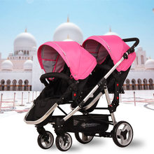Fashion Folding Twins Stroller Stroller Twins Portable Lightweight Highview 4 Wheels Pushchair for Two Kids Front & Rear Seats