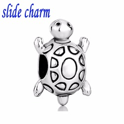 slide charm Free shipping black and white sea turtle marine life animal charm beads fit Pandora bracelet