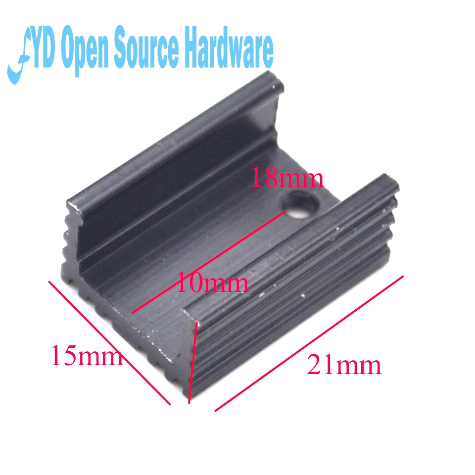 US $0 6 |TO 220 aluminum heat sink triode radiator SCR heat sink 21 * 15 *  10MM black U type-in Integrated Circuits from Electronic Components &