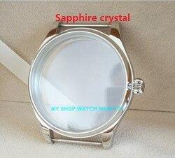 Szafirowe parnis 44MM koperta zegarka ze stali nierdzewnej 316L fit 6497/6498 mechaniczne ręcznie nakręcany ruch 02