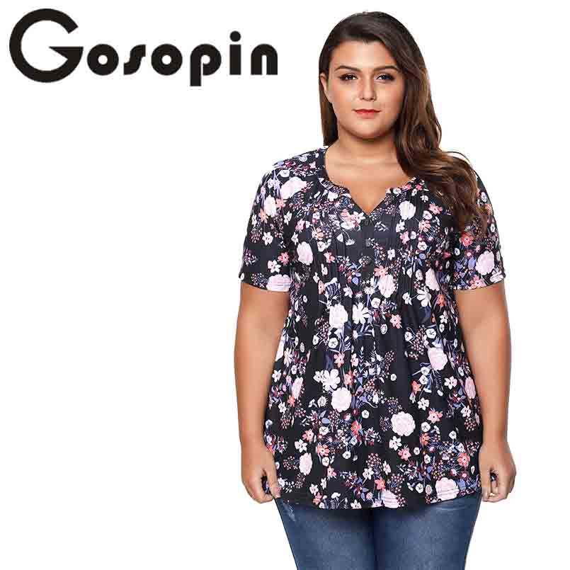 Gosopin Print Plus Size Casual Women Tops T Shirt Summer Short Sleeve V Neck T Shirt Ladies Butterfly Floral Printed Tops 250938
