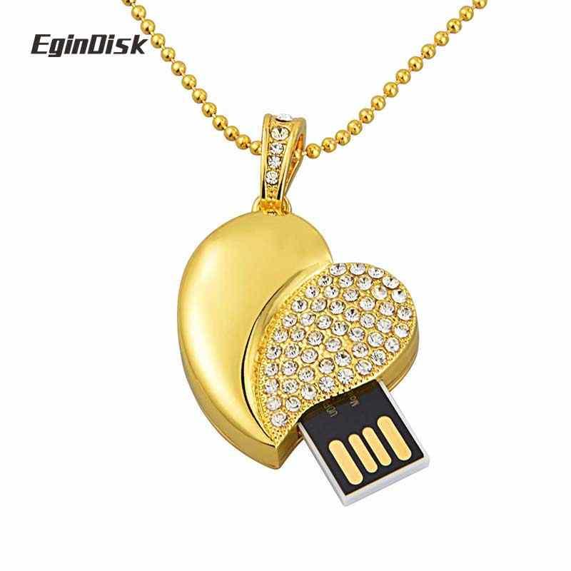Prezent Pendrive naszyjnik wisiorek brelok USB 8 gb 16 gb 32 gb 64 GB USB flash jazdy kryształ diament słodkie serce Pendrive