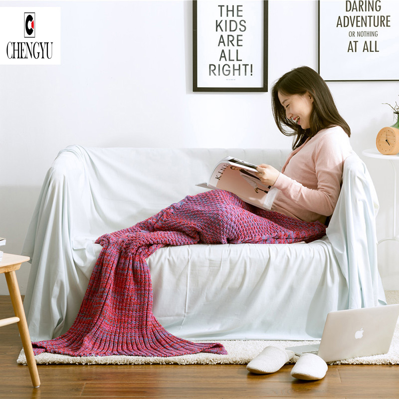 2016 Fashion Knitted Mermaid Blanket Fish Tail Soft and Warm Blanket Adult Throw Bed Wrap Sleeping Bag60*140 cm 40 90 high quality thicken fashion handmade knitted mermaid tail blanket keep warm crochet children throw bed wrap sleeping bag