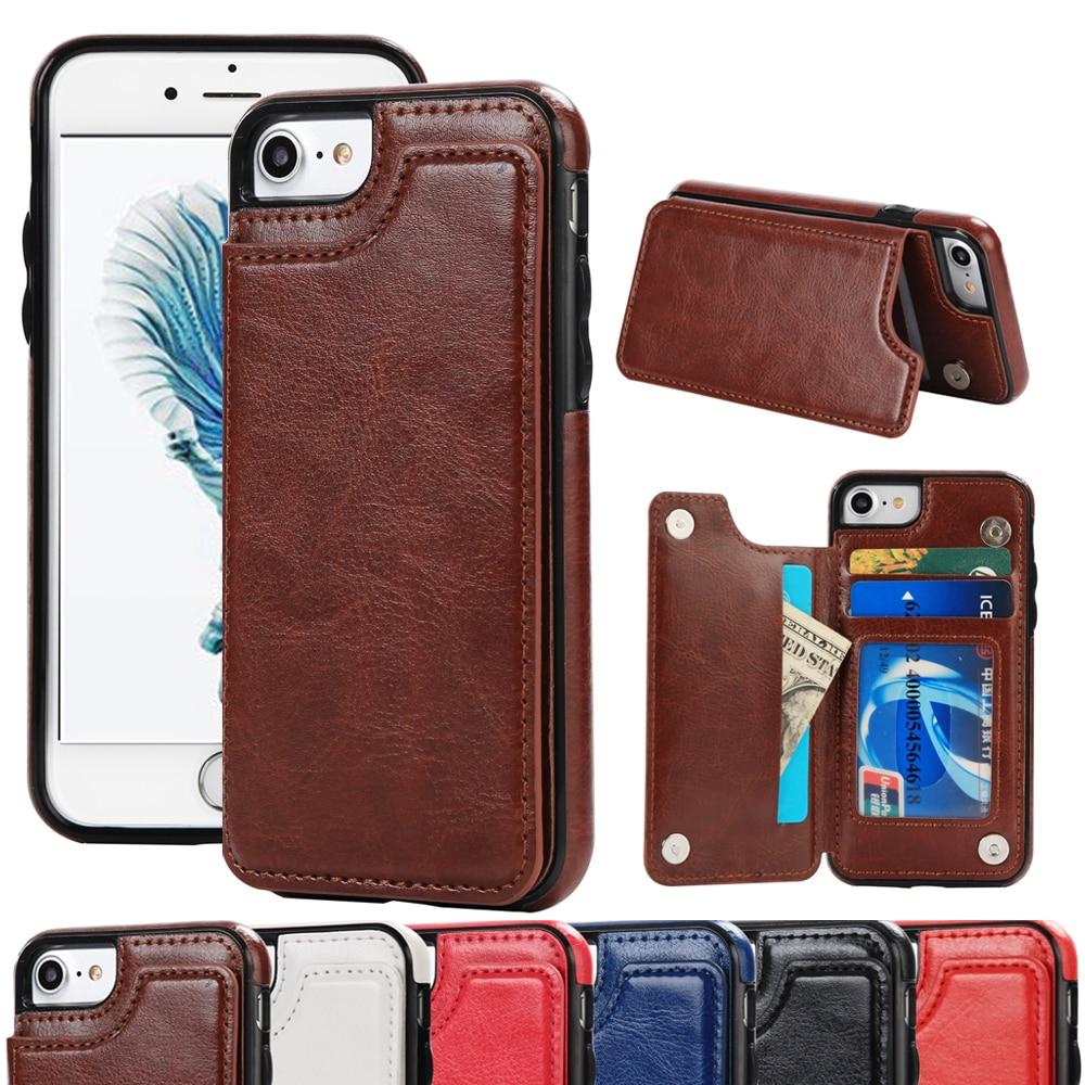 Винтаж кожа для iPhone 7 плюс чехол бумажник роскошные Подставки карты карман из искусственной кожи телефон сумка-чехол для iPhone 7 6S сзади Капа