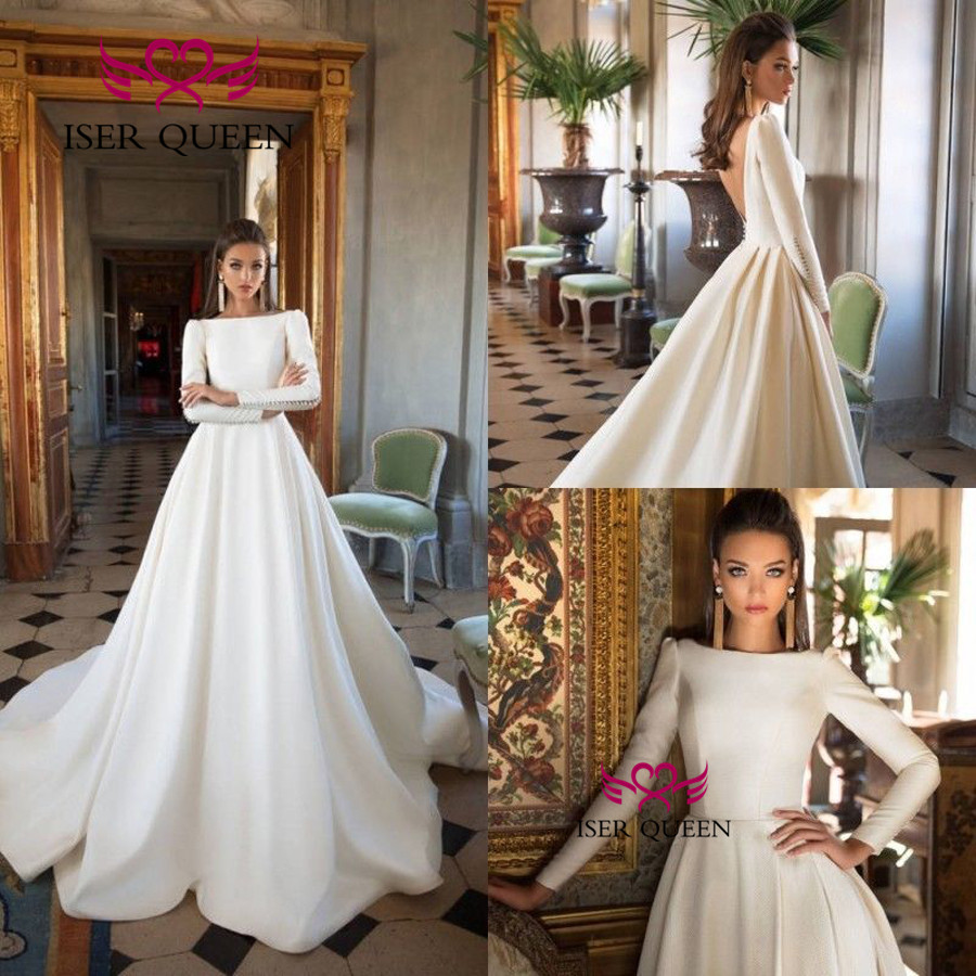 Full Sleeves Muslim Satin Wedding Dress 2020 New Court Train Backless Custom Made Elegant Vintage Wedding Gowns W0530
