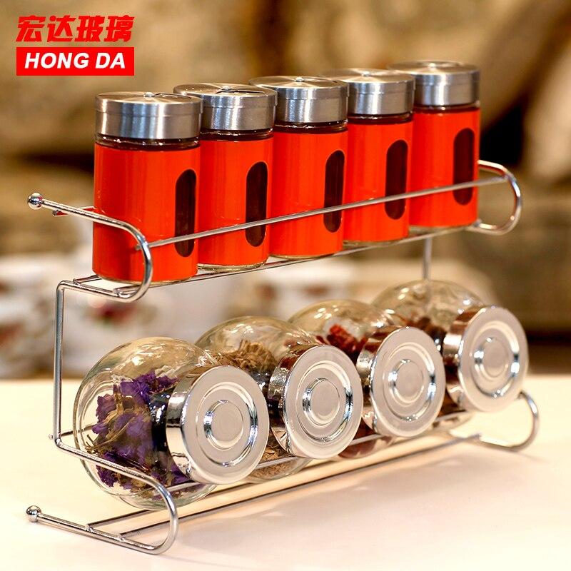 Pour htc bouteille d'assaisonnement en verre sans plomb, 10 pièces/ensemble, fournitures de cuisine, pot à épices avec étagère