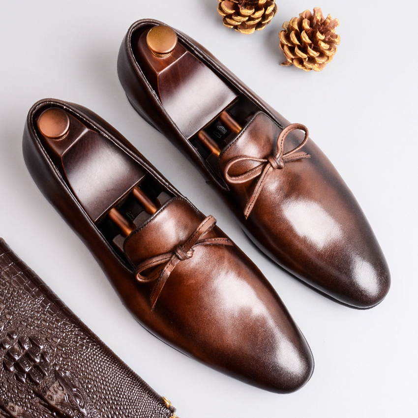 New Classic Genuine Leather Mens Office Business Driving Shoes Basic Pointed Toe Slip on Comfortable Casual Retro Loafers AS216New Classic Genuine Leather Mens Office Business Driving Shoes Basic Pointed Toe Slip on Comfortable Casual Retro Loafers AS216