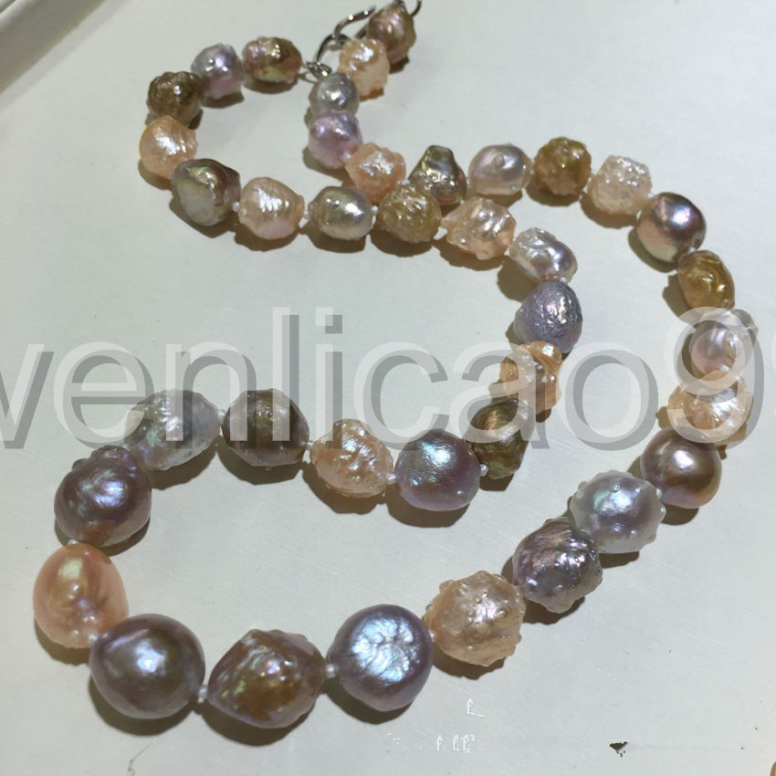 new 11-13mm reborn keshi baroque White Pink PURPLE Pearl Necklace 18 pink coral white keshi pearl 18 11 strands necklace women jewerly