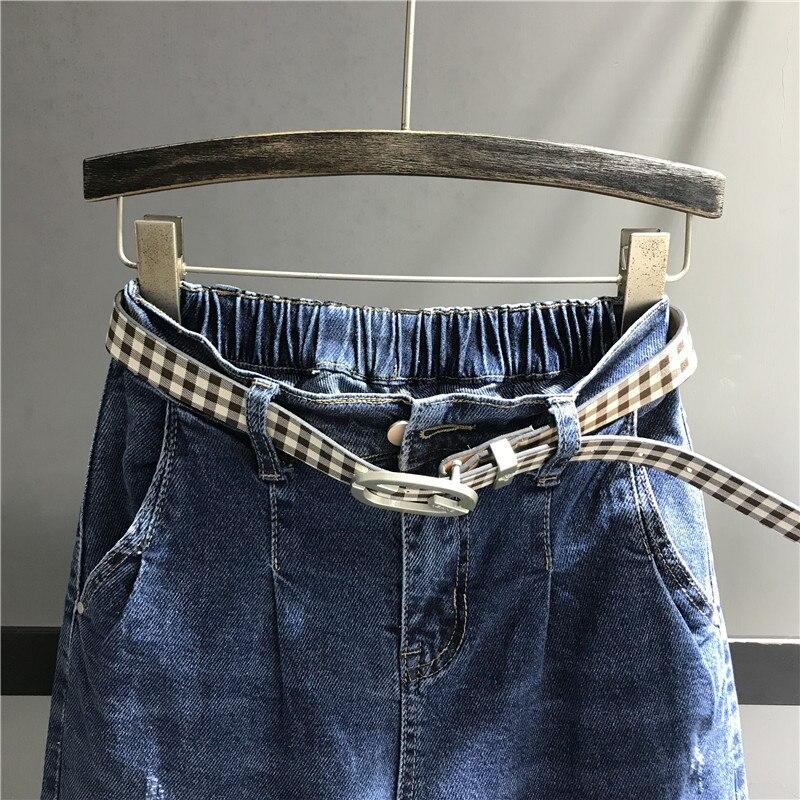 Jeans Haute Vintage Pour Déchiré Dame Jean Cheville Stretch Mince longueur Coton Denim Délavé Moulante Femelle Pantalon Taille Bleu K498 Femmes dxpqS