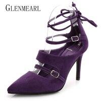 2016 Spring Fashion Pointed Stilettos Women Pumps High Heels Shoes Black Red Purple High Heeled Female