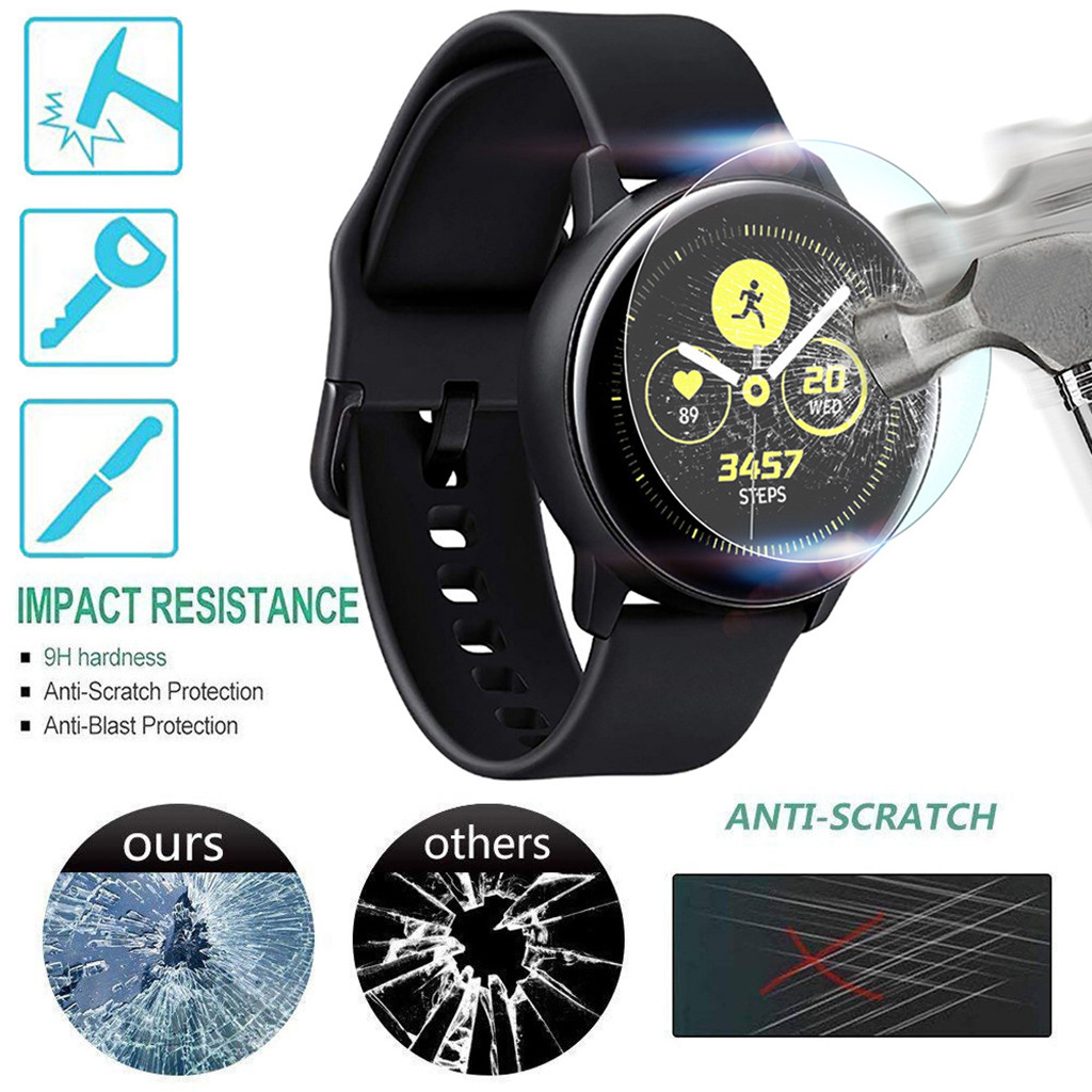 1 PACK Tempered Glass Screen Protector For Samsung Galaxy Watch Active Full Cover Screen