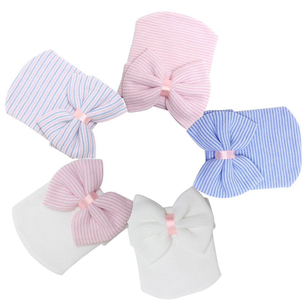 ce7d05edb82 Newborn baby hat Toddler Baby Warm Hat Striped Caps Soft Hospital Girls  Hats Bow Beanies for Newborn 0-3M Send Earring as gift