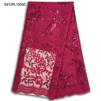 High Quality Latest African French Lace Fabric For Wedding Dress With Sequins,elegant Nigerian Lace Fabric in Rose redD612PL15-5