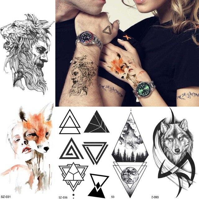 1814b8443fb01 3D Stone Warrior Lion Men Arm Tattoo Stickers Triangle Totem Temporary  Tattoo Women Sexy Flash Fox Waterproof Tatoo Body Art