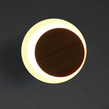 Modern wooden round wall sconce indoor moon LED lamp bedroom bedside background aisle light led flame lampara bra