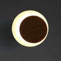 Parede de madeira redonda moderna arandela interior da lua parede LEVOU quarto lâmpada lâmpada de cabeceira do corredor de fundo luz led chama luz lampara sutiã