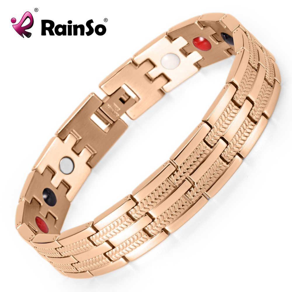 Rainso בריאות תכשיטי גברים/נשים ביו אנרגיה מגנטי צמיד טיטניום צמידים & צמידים