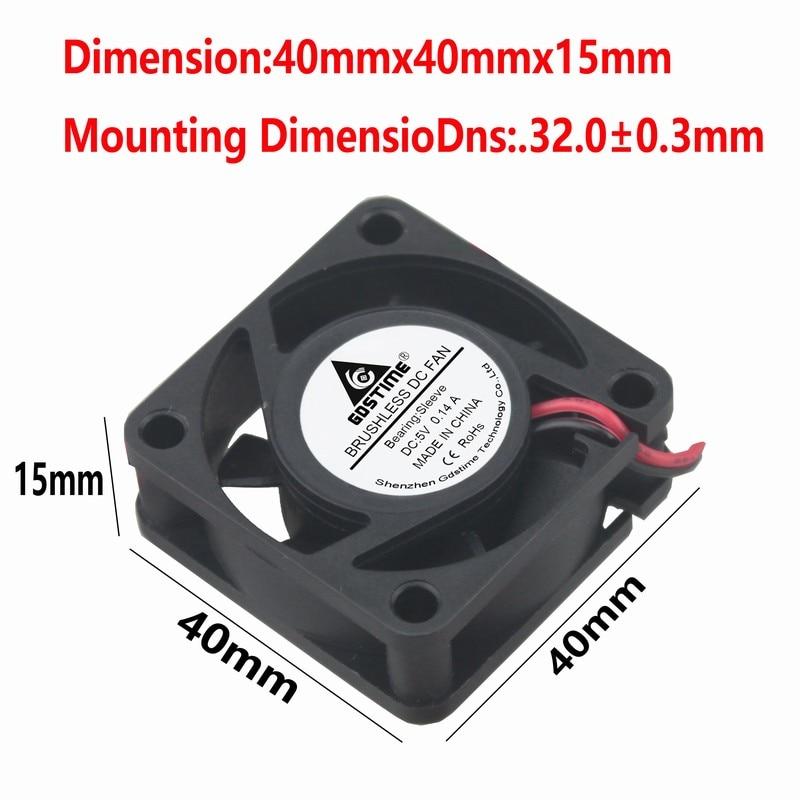 Wholesale 100pcs 4cm 5V 2Pin 40mm x 10mm Mini DC Brushless Computer Cooling Fan