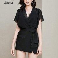 Newest Fashion Designer Suits Summer Women Sexy Deep V Neck Black chiffon shirt tops + Button Mini Skirt Set